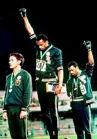 Spirit of rebellion … Peter Norman, Tommie Smith and John Carlos on the podium at the Mexico City Olympics in 1968. Photo: Supplied