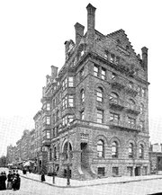 An 1893 photo of the former Mount Morris Bank Building, later known as the Corn Exchange Bank Building, at 81 East 125th Street in Harlem.