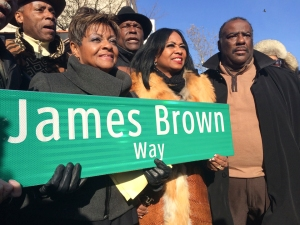 SOUL STREET   |  Local politicians, spiritual leaders, and Harlemites gathered on Saturday afternoon on the corner of 126th Street and Adam Clayton Powell Jr. Boulevard to celebrate the dedication of James Brown Way.