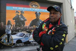 "Legendary Harlem artist Franco ""The Great"" Gaskin painted famous murals on roll-down security gates on 125th Street."