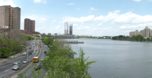 A rendering of the East River project, center, in the distance